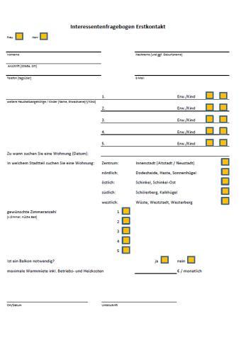Interessentenfragebogen Erstkontakt